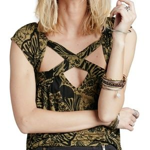 Free People Flirty Cut Out Sleeveless Blouse Top